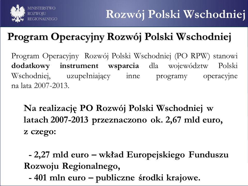 Program Operacyjny Rozwój Polski Wschodniej Program Operacyjny Rozwój Polski Wschodniej (PO RPW) stanowi dodatkowy instrument wsparcia dla województw Polski Wschodniej, uzupełniający inne programy operacyjne na lata 2007-2013.