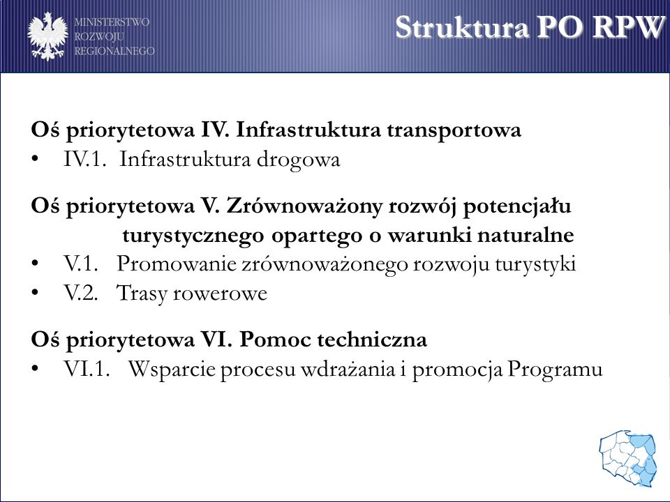 Oś priorytetowa IV. Infrastruktura transportowa IV.1.