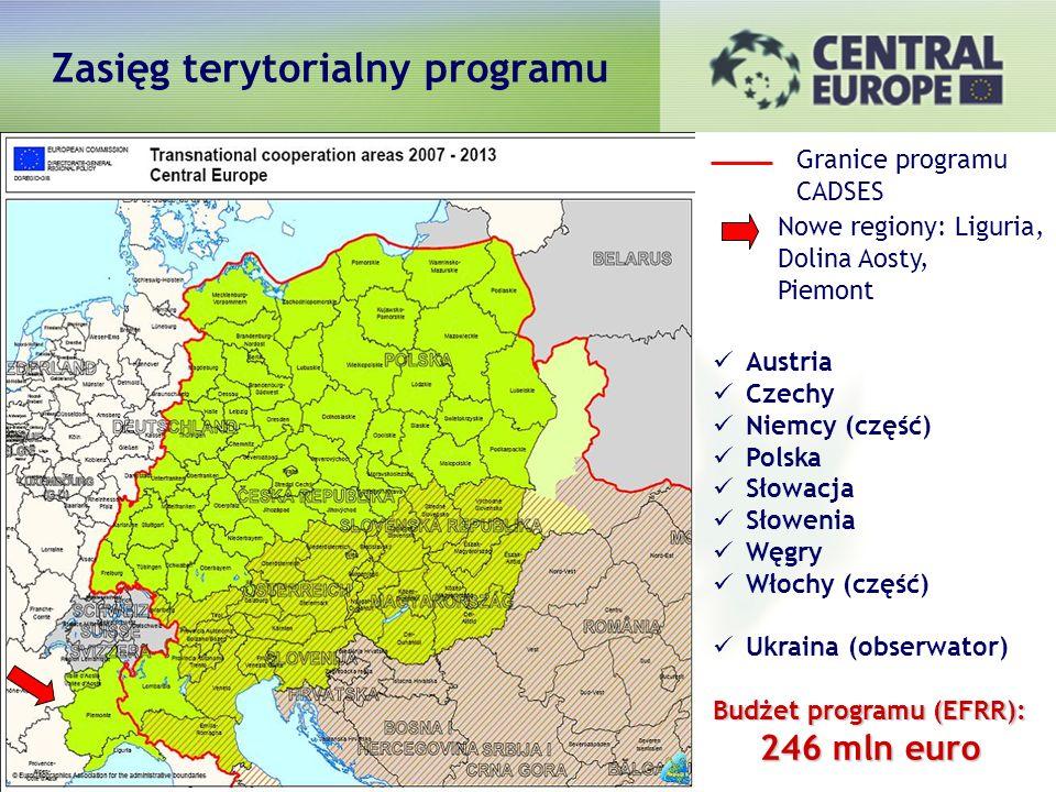 Austria Czechy Niemcy (część) Polska Słowacja Słowenia Węgry Włochy (część) Ukraina (obserwator) Budżet programu (EFRR): 246 mln euro Granice programu CADSES Nowe regiony: Liguria, Dolina Aosty, Piemont Zasięg terytorialny programu