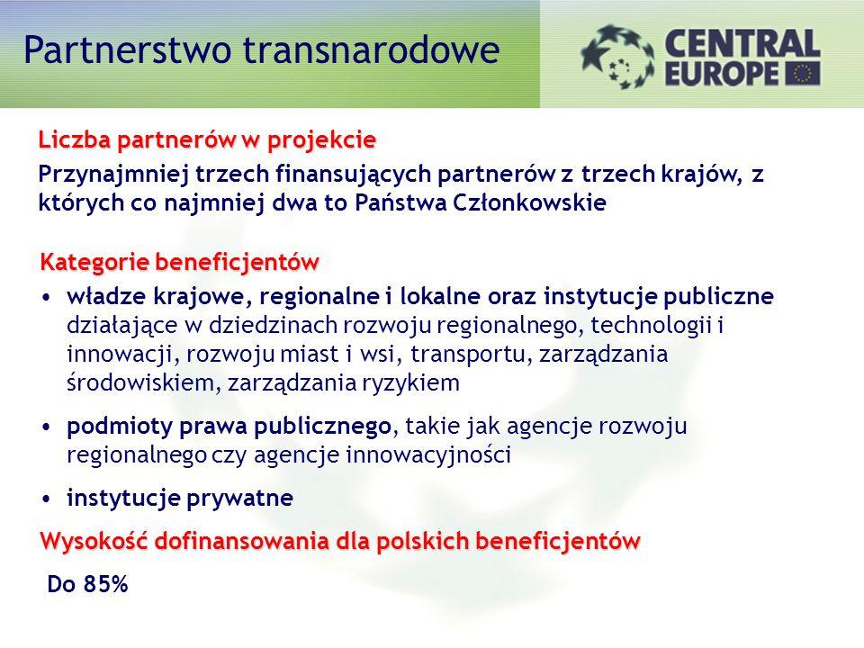 Liczba partnerów w projekcie Przynajmniej trzech finansujących partnerów z trzech krajów, z których co najmniej dwa to Państwa Członkowskie Kategorie beneficjentów władze krajowe, regionalne i lokalne oraz instytucje publiczne działające w dziedzinach rozwoju regionalnego, technologii i innowacji, rozwoju miast i wsi, transportu, zarządzania środowiskiem, zarządzania ryzykiem podmioty prawa publicznego, takie jak agencje rozwoju regionalnego czy agencje innowacyjności instytucje prywatne Wysokość dofinansowania dla polskich beneficjentów Do 85% Partnerstwo transnarodowe