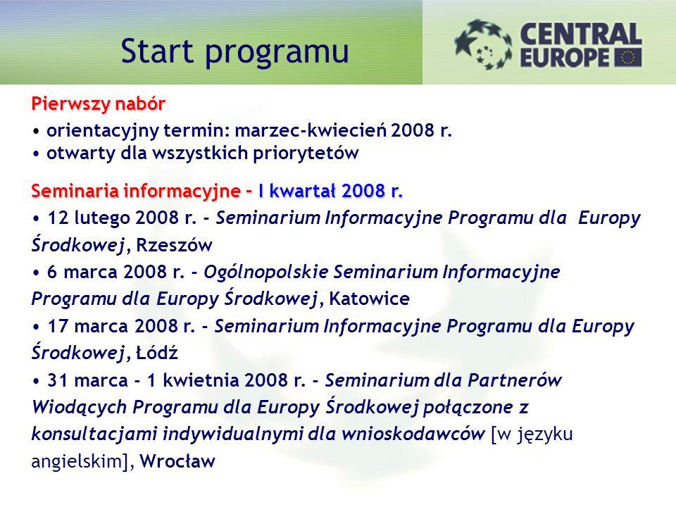 Zakładany harmonogram Pierwszy nabór orientacyjny termin: marzec-kwiecień 2008 r.