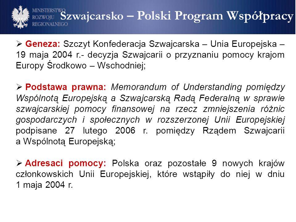 Szwajcarsko – Polski Program Współpracy Geneza: Szczyt Konfederacja Szwajcarska – Unia Europejska – 19 maja 2004 r.- decyzja Szwajcarii o przyznaniu pomocy krajom Europy Środkowo – Wschodniej; Podstawa prawna: Memorandum of Understanding pomiędzy Wspólnotą Europejską a Szwajcarską Radą Federalną w sprawie szwajcarskiej pomocy finansowej na rzecz zmniejszenia różnic gospodarczych i społecznych w rozszerzonej Unii Europejskiej podpisane 27 lutego 2006 r.