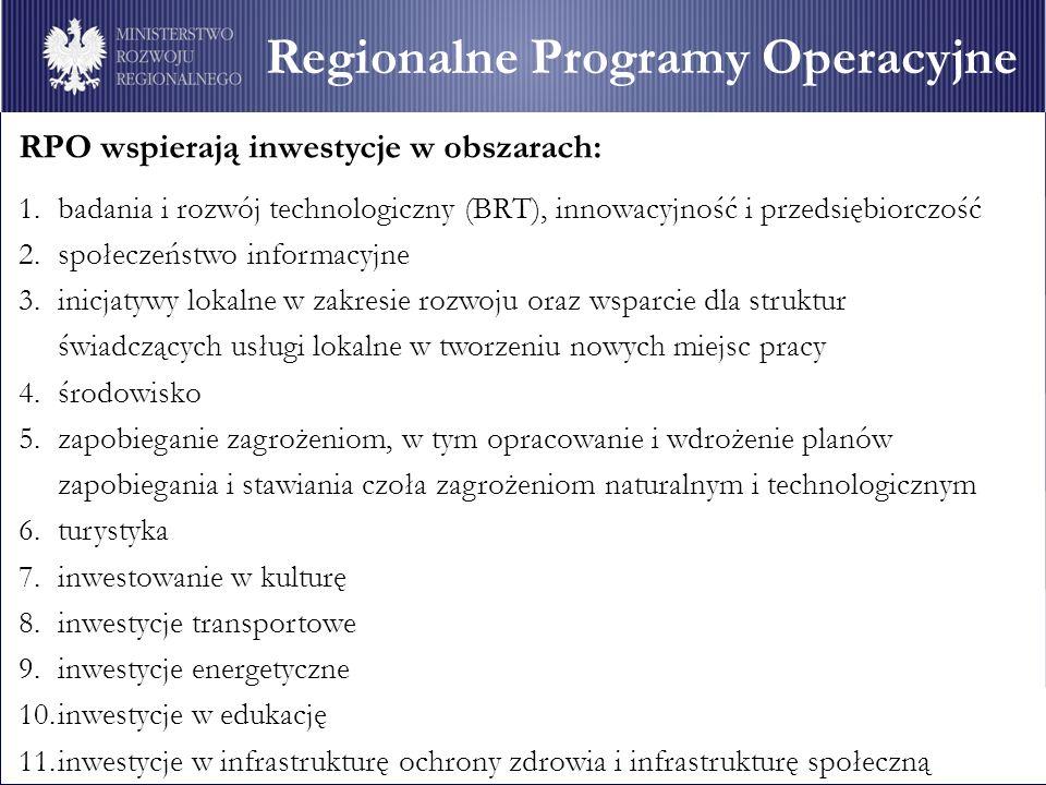 Regionalne Programy Operacyjne Obszary wsparcia RPO wspierają inwestycje w obszarach: 1.badania i rozwój technologiczny (BRT), innowacyjność i przedsiębiorczość 2.społeczeństwo informacyjne 3.inicjatywy lokalne w zakresie rozwoju oraz wsparcie dla struktur świadczących usługi lokalne w tworzeniu nowych miejsc pracy 4.środowisko 5.zapobieganie zagrożeniom, w tym opracowanie i wdrożenie planów zapobiegania i stawiania czoła zagrożeniom naturalnym i technologicznym 6.turystyka 7.inwestowanie w kulturę 8.inwestycje transportowe 9.inwestycje energetyczne 10.inwestycje w edukację 11.inwestycje w infrastrukturę ochrony zdrowia i infrastrukturę społeczną Regionalne Programy Operacyjne