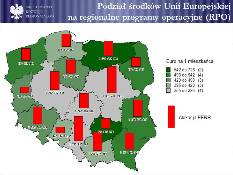 Podział środków Unii Europejskiej na regionalne programy operacyjne (RPO) Podział środków Unii Europejskiej na regionalne programy operacyjne (RPO)
