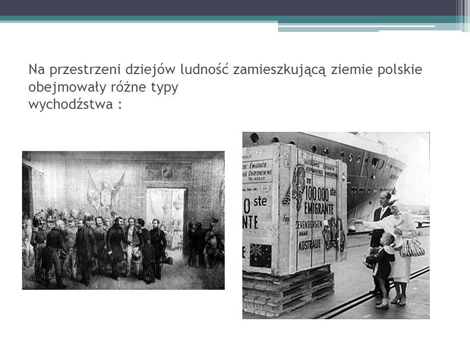 Na przestrzeni dziejów ludność zamieszkującą ziemie polskie obejmowały różne typy wychodźstwa :