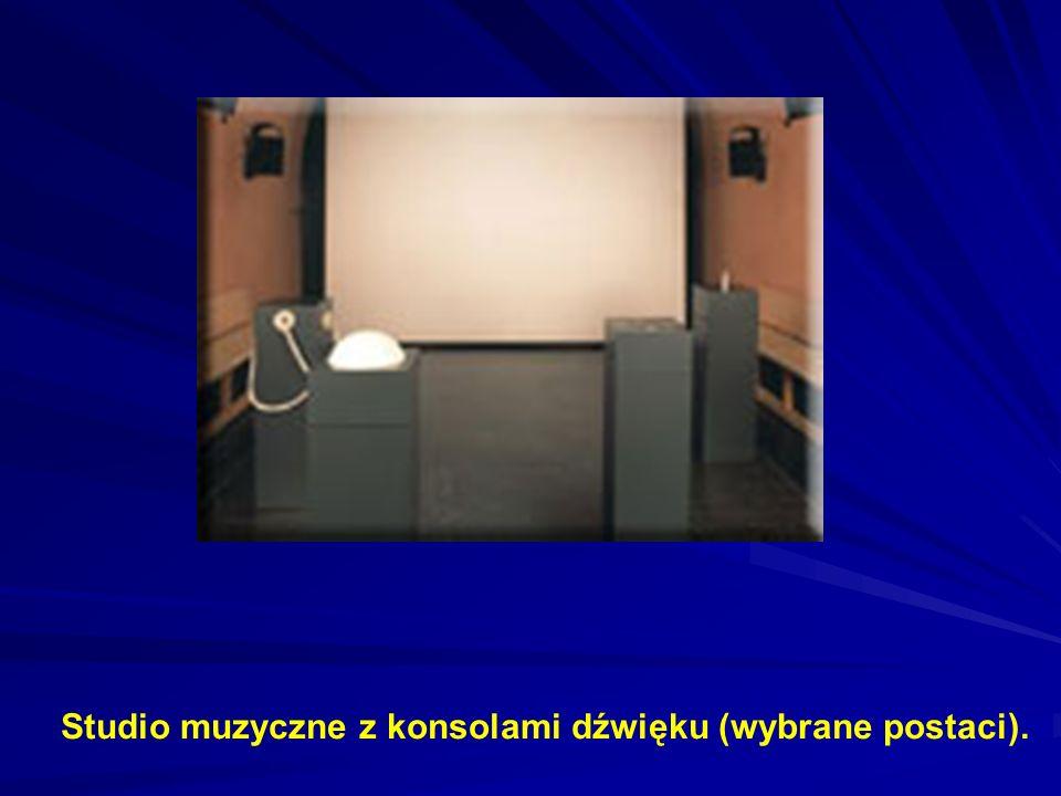 Studio muzyczne z konsolami dźwięku (wybrane postaci).