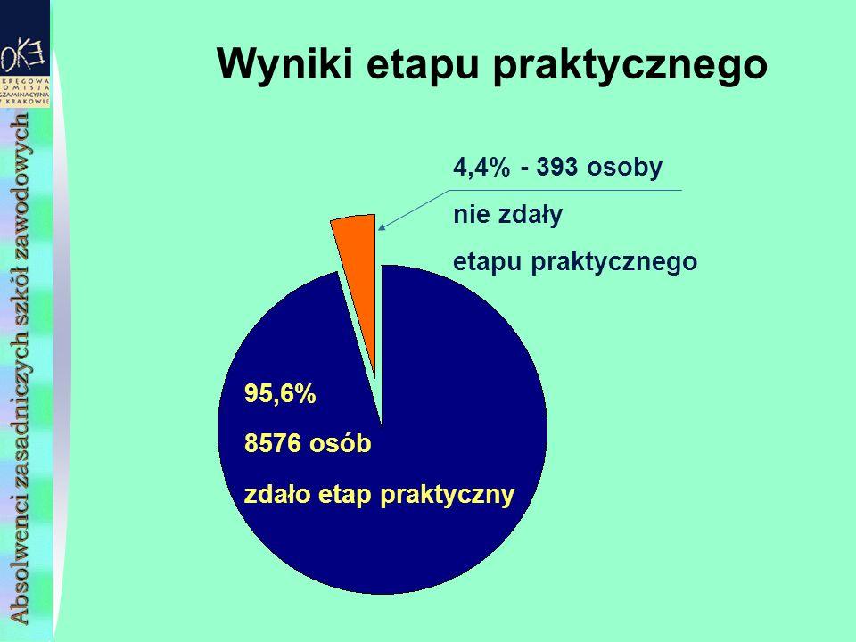 Wyniki etapu praktycznego 95,6% 8576 osób zdało etap praktyczny 4,4% - 393 osoby nie zdały etapu praktycznego Absolwenci zasadniczych szkół zawodowych