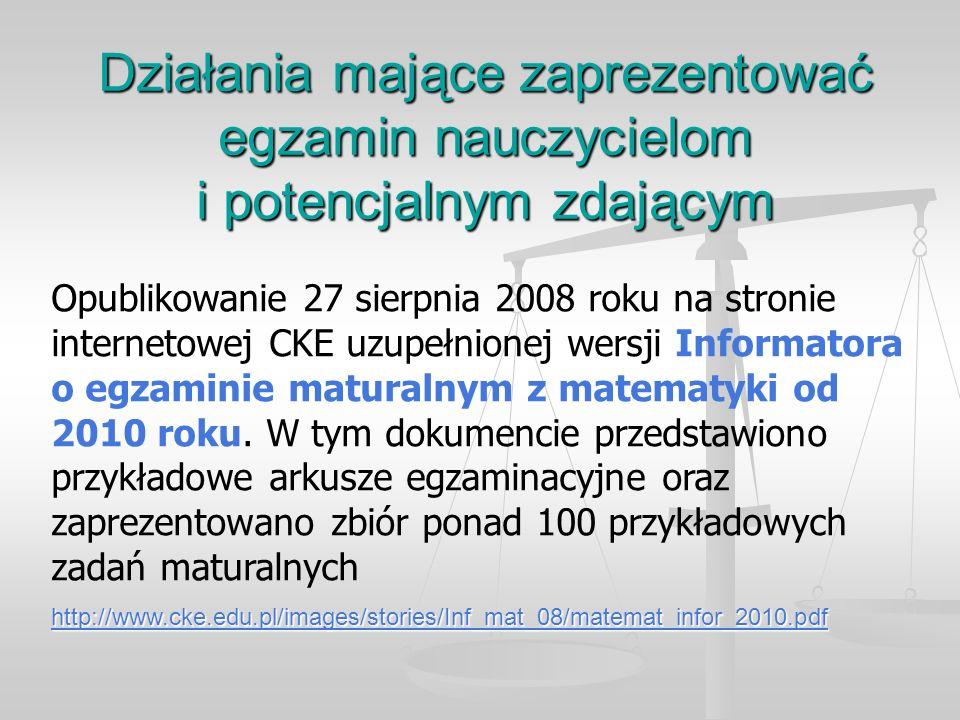 Działania mające zaprezentować egzamin nauczycielom i potencjalnym zdającym Opublikowanie 27 sierpnia 2008 roku na stronie internetowej CKE uzupełnionej wersji Informatora o egzaminie maturalnym z matematyki od 2010 roku.