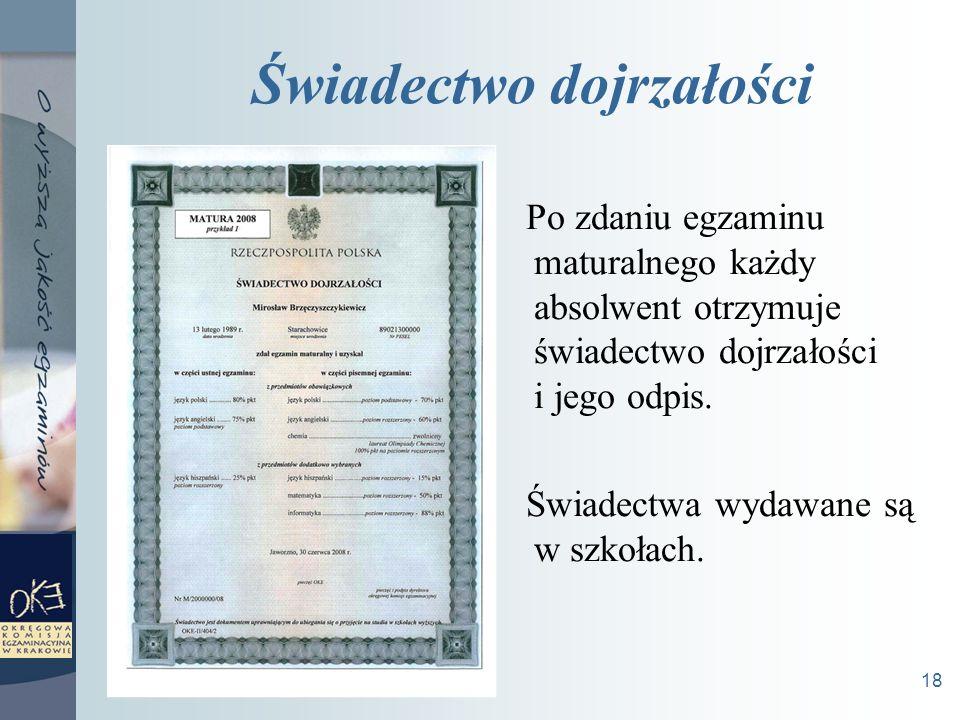 18 Świadectwo dojrzałości Po zdaniu egzaminu maturalnego każdy absolwent otrzymuje świadectwo dojrzałości i jego odpis.