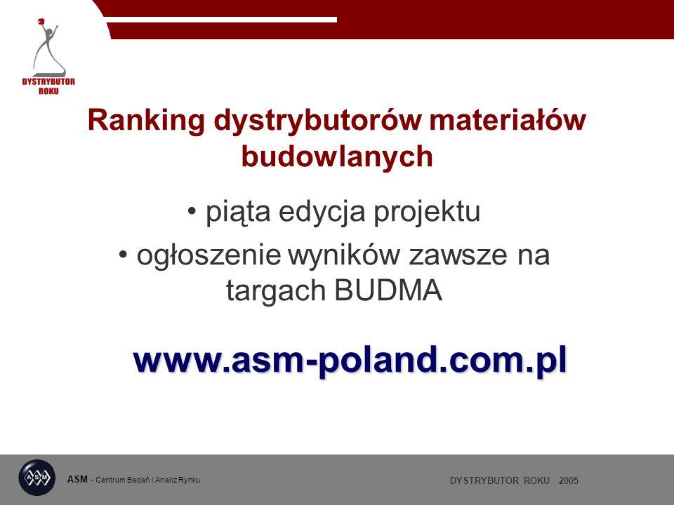 DYSTRYBUTOR ROKU 2005 ASM - Centrum Badań i Analiz Rynku Ranking dystrybutorów materiałów budowlanych piąta edycja projektu ogłoszenie wyników zawsze