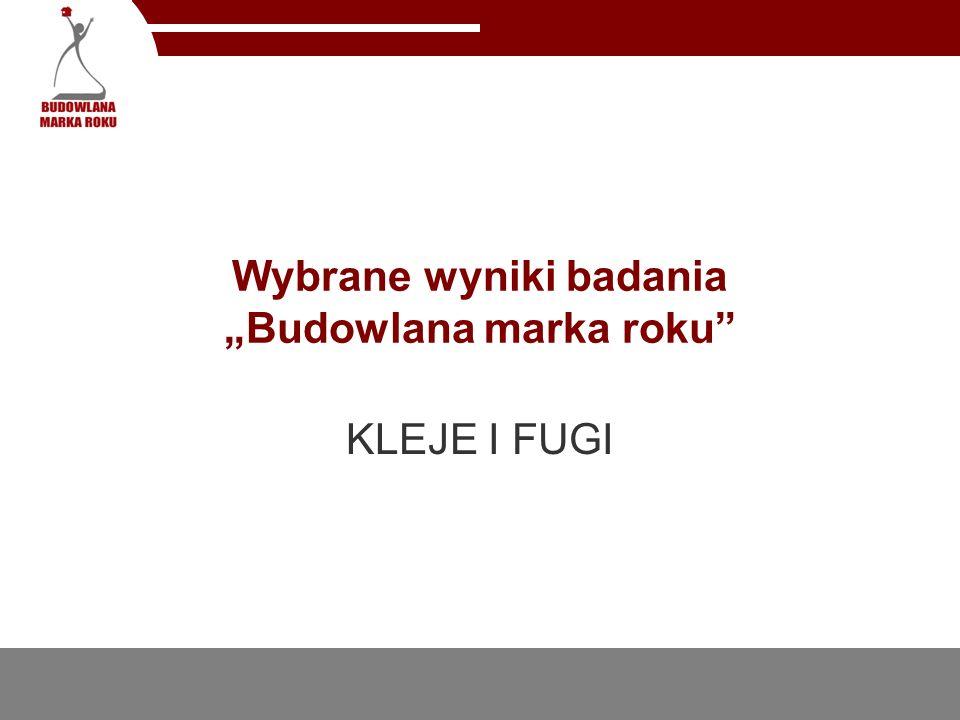 Wybrane wyniki badania Budowlana marka roku KLEJE I FUGI