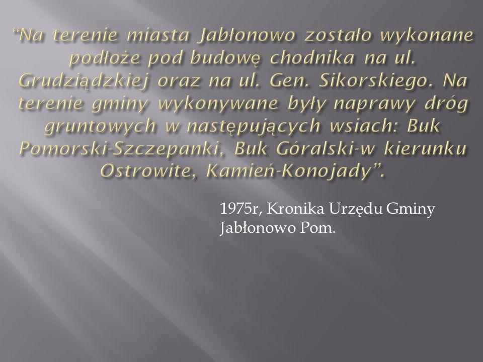 1975r, Kronika Urzędu Gminy Jabłonowo Pom.