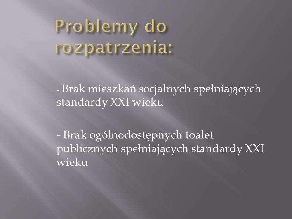 - Brak mieszkań socjalnych spełniających standardy XXI wieku - Brak ogólnodostępnych toalet publicznych spełniających standardy XXI wieku
