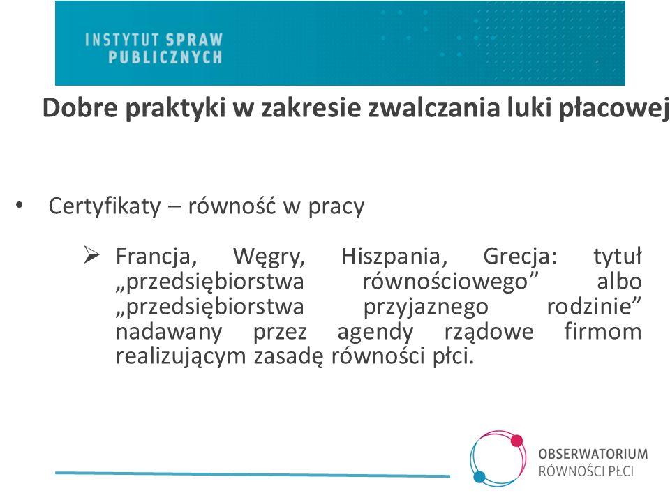Certyfikaty – równość w pracy Francja, Węgry, Hiszpania, Grecja: tytuł przedsiębiorstwa równościowego albo przedsiębiorstwa przyjaznego rodzinie nadawany przez agendy rządowe firmom realizującym zasadę równości płci.