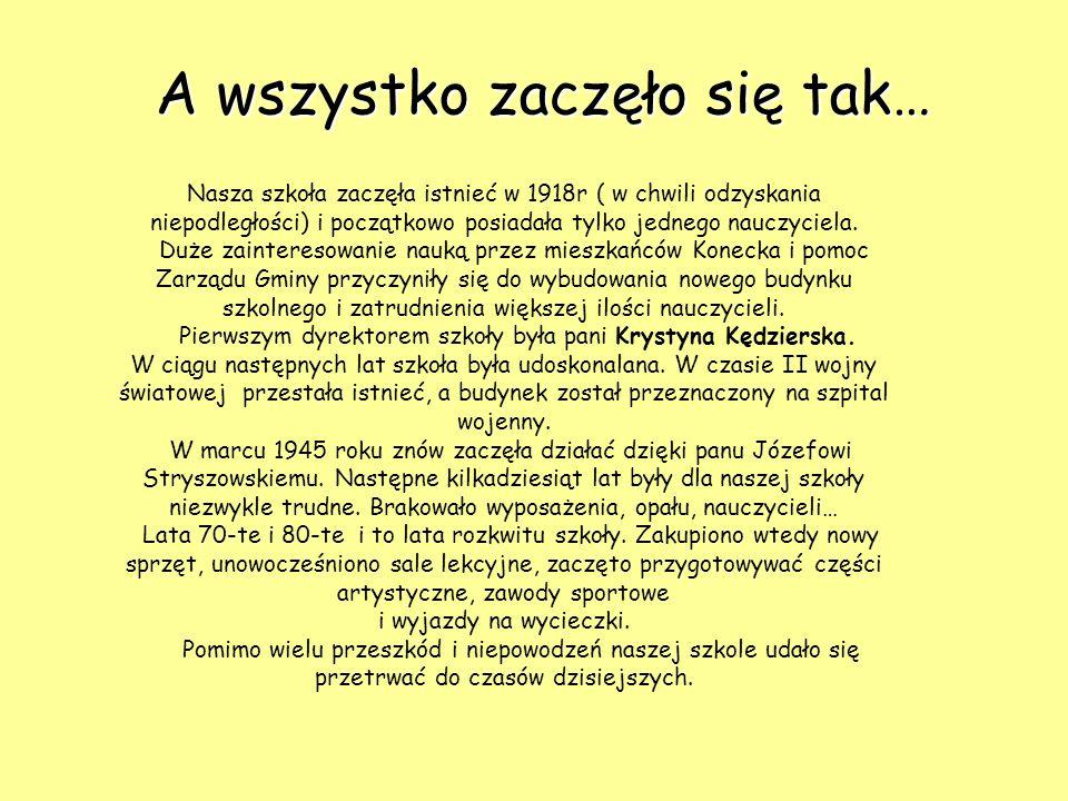 Nauczyciele… Dyrektorem Zespołu Szkół w Konecku jest p. mgr Dariusz Wochna Zatrudnionych jest 23 nauczycieli. Oto nauczyciele uczący w gimnazjum…