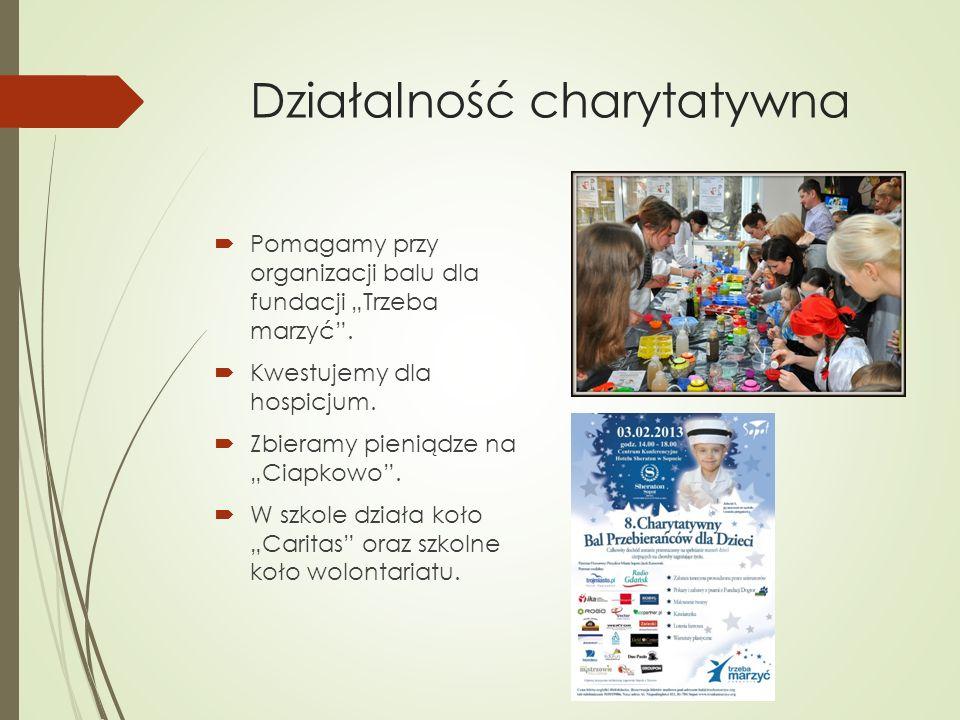 Działalność charytatywna Pomagamy przy organizacji balu dla fundacji Trzeba marzyć. Kwestujemy dla hospicjum. Zbieramy pieniądze na Ciapkowo. W szkole