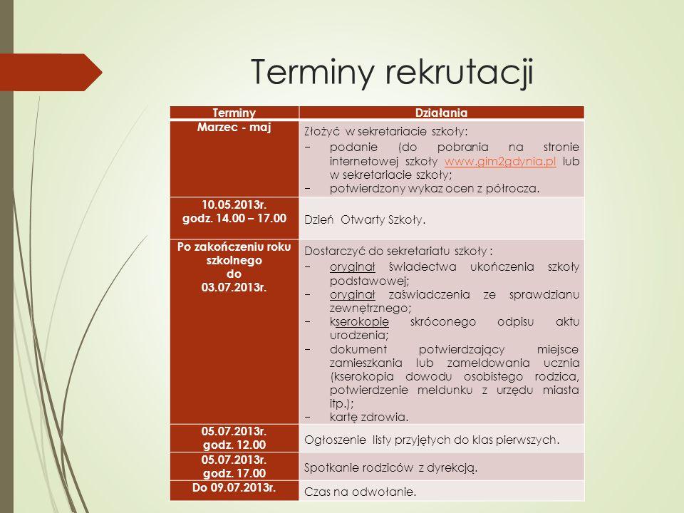 Terminy rekrutacji TerminyDziałania Marzec - maj Złożyć w sekretariacie szkoły: podanie (do pobrania na stronie internetowej szkoły www.gim2gdynia.pl
