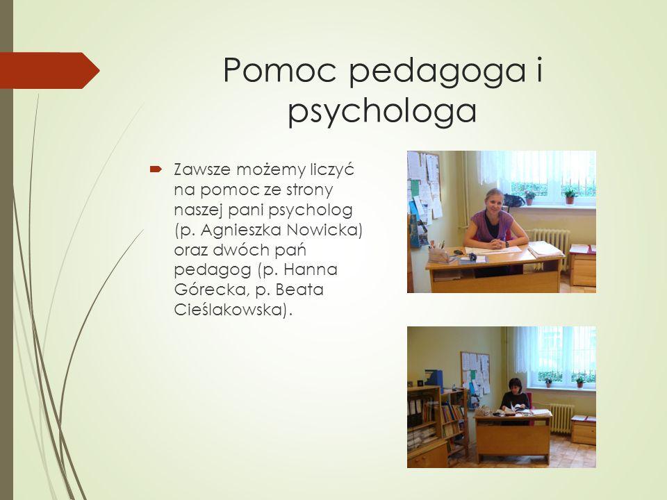 Pomoc pedagoga i psychologa Zawsze możemy liczyć na pomoc ze strony naszej pani psycholog (p. Agnieszka Nowicka) oraz dwóch pań pedagog (p. Hanna Góre