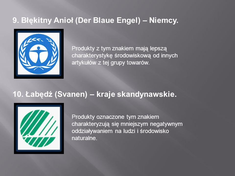 9. Błękitny Anioł (Der Blaue Engel) – Niemcy. Produkty z tym znakiem mają lepszą charakterystykę środowiskową od innych artykułów z tej grupy towarów.
