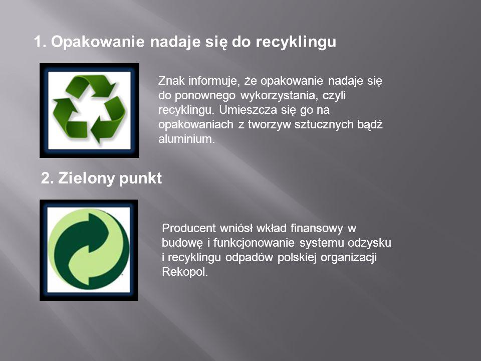 1. Opakowanie nadaje się do recyklingu Znak informuje, że opakowanie nadaje się do ponownego wykorzystania, czyli recyklingu. Umieszcza się go na opak