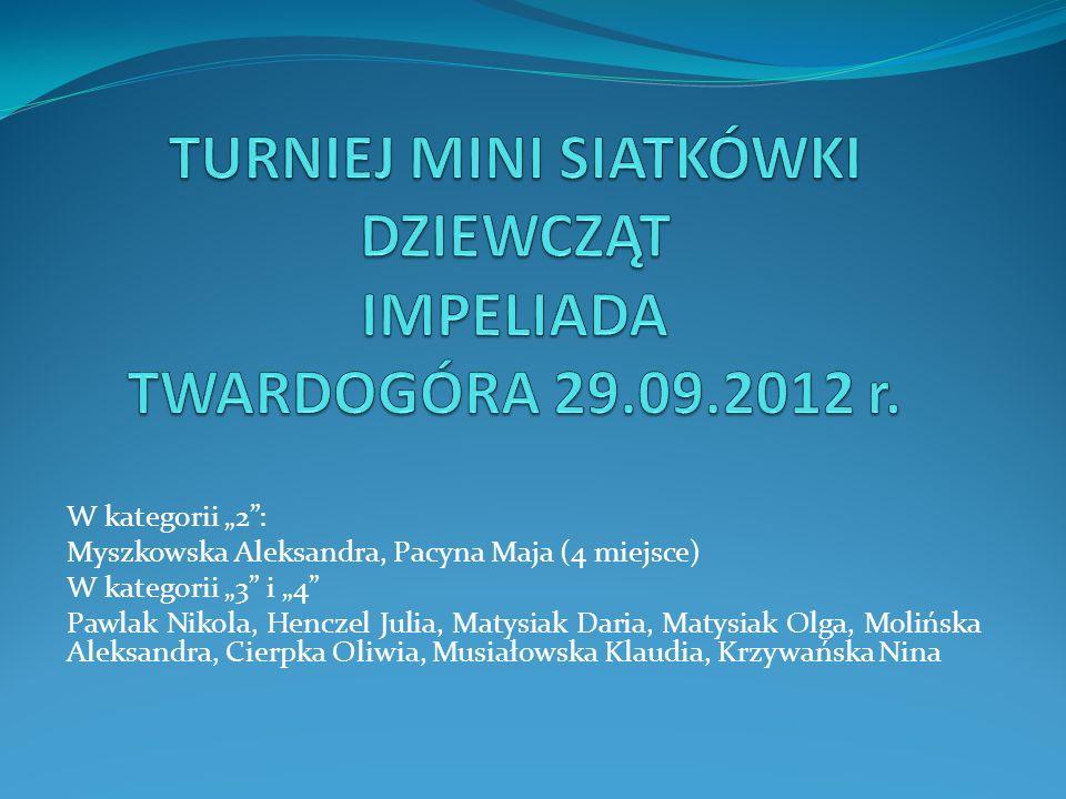 W kategorii 2: Myszkowska Aleksandra, Pacyna Maja (4 miejsce) W kategorii 3 i 4 Pawlak Nikola, Henczel Julia, Matysiak Daria, Matysiak Olga, Molińska