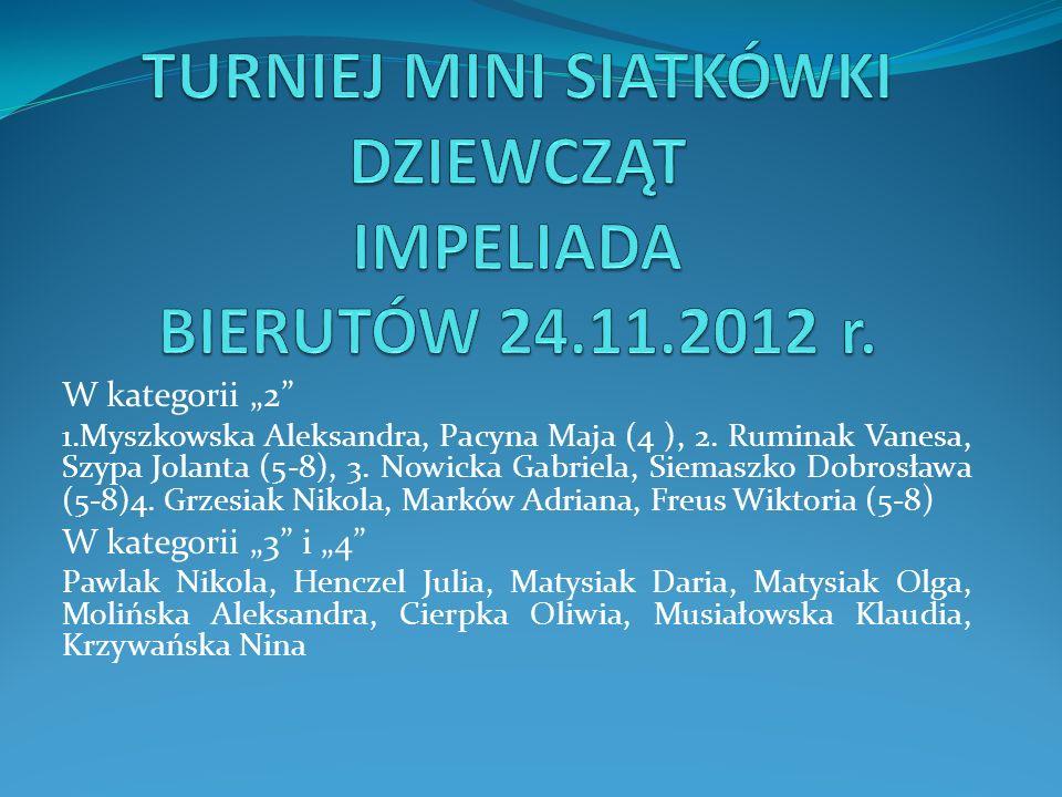 W kategorii 2 1.Myszkowska Aleksandra, Pacyna Maja (4 ), 2. Ruminak Vanesa, Szypa Jolanta (5-8), 3. Nowicka Gabriela, Siemaszko Dobrosława (5-8)4. Grz