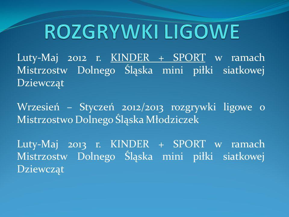 Luty-Maj 2012 r. KINDER + SPORT w ramach Mistrzostw Dolnego Śląska mini piłki siatkowej Dziewcząt Wrzesień – Styczeń 2012/2013 rozgrywki ligowe o Mist