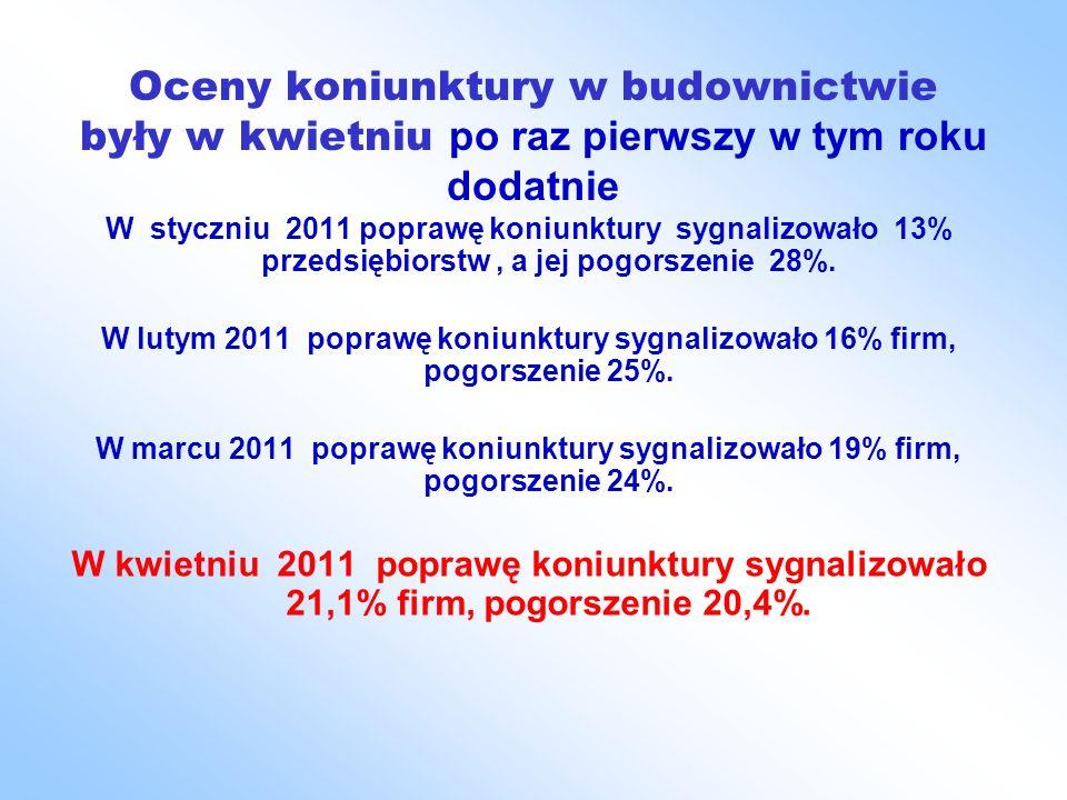 Oceny koniunktury w budownictwie były w kwietniu po raz pierwszy w tym roku dodatnie W styczniu 2011 poprawę koniunktury sygnalizowało 13% przedsiębiorstw, a jej pogorszenie 28%.