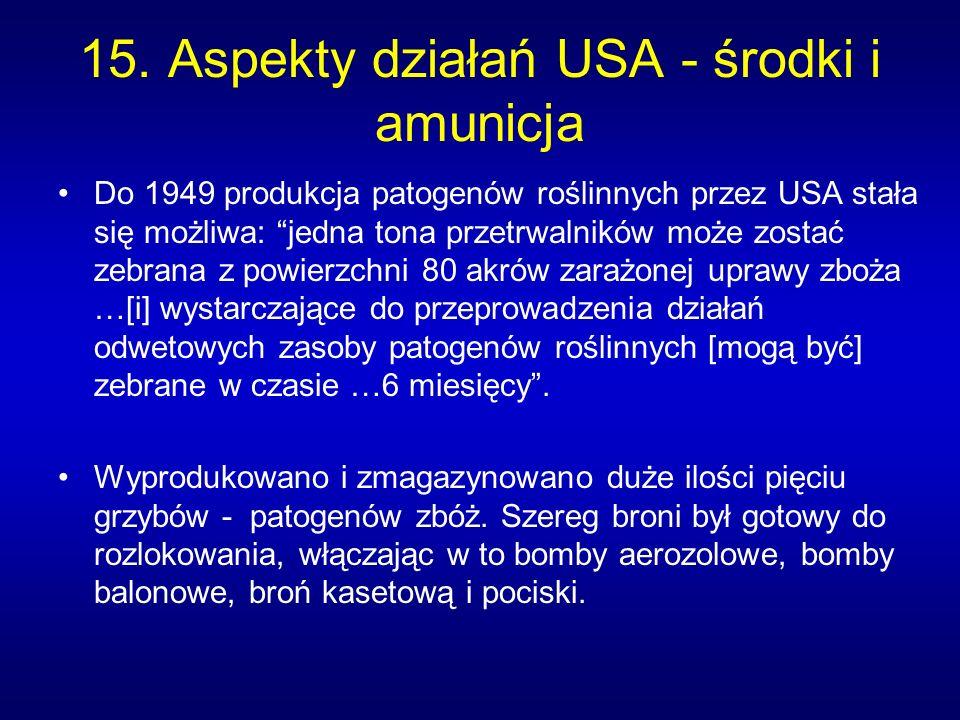 15. Aspekty działań USA - środki i amunicja Do 1949 produkcja patogenów roślinnych przez USA stała się możliwa: jedna tona przetrwalników może zostać