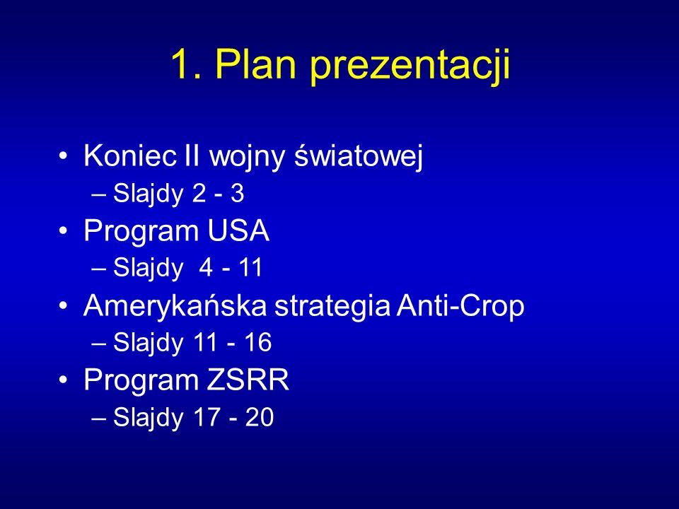 1. Plan prezentacji Koniec II wojny światowej –Slajdy 2 - 3 Program USA –Slajdy 4 - 11 Amerykańska strategia Anti-Crop –Slajdy 11 - 16 Program ZSRR –S