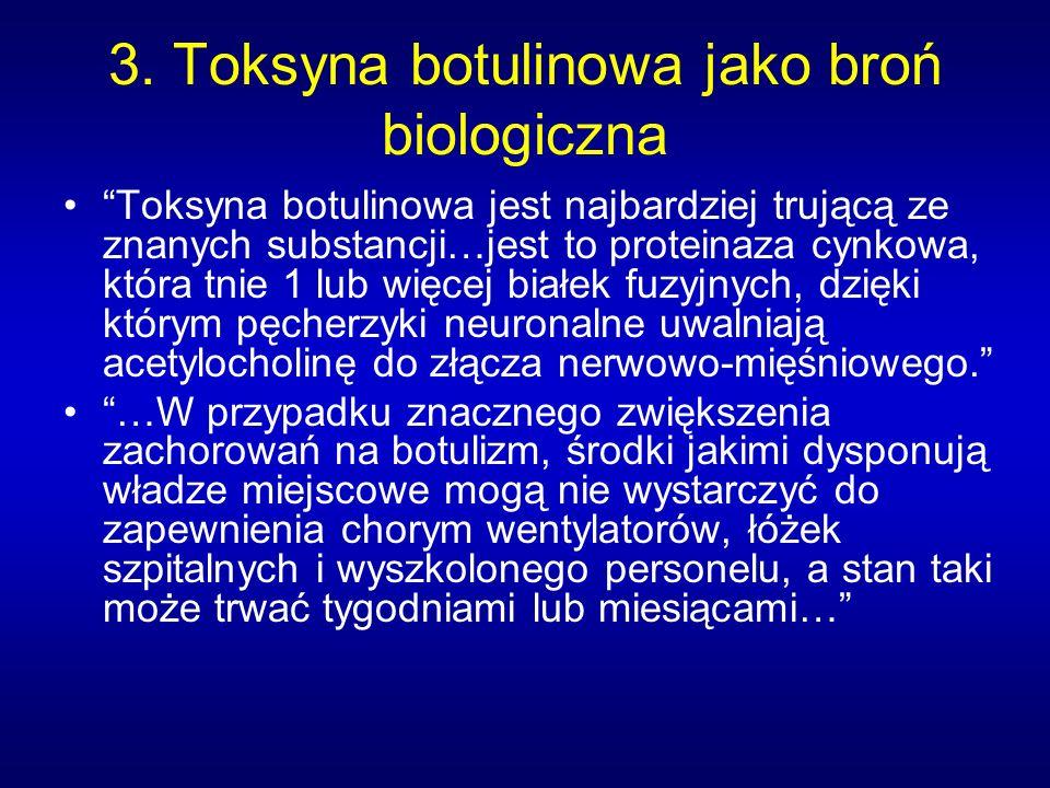3. Toksyna botulinowa jako broń biologiczna Toksyna botulinowa jest najbardziej trującą ze znanych substancji…jest to proteinaza cynkowa, która tnie 1