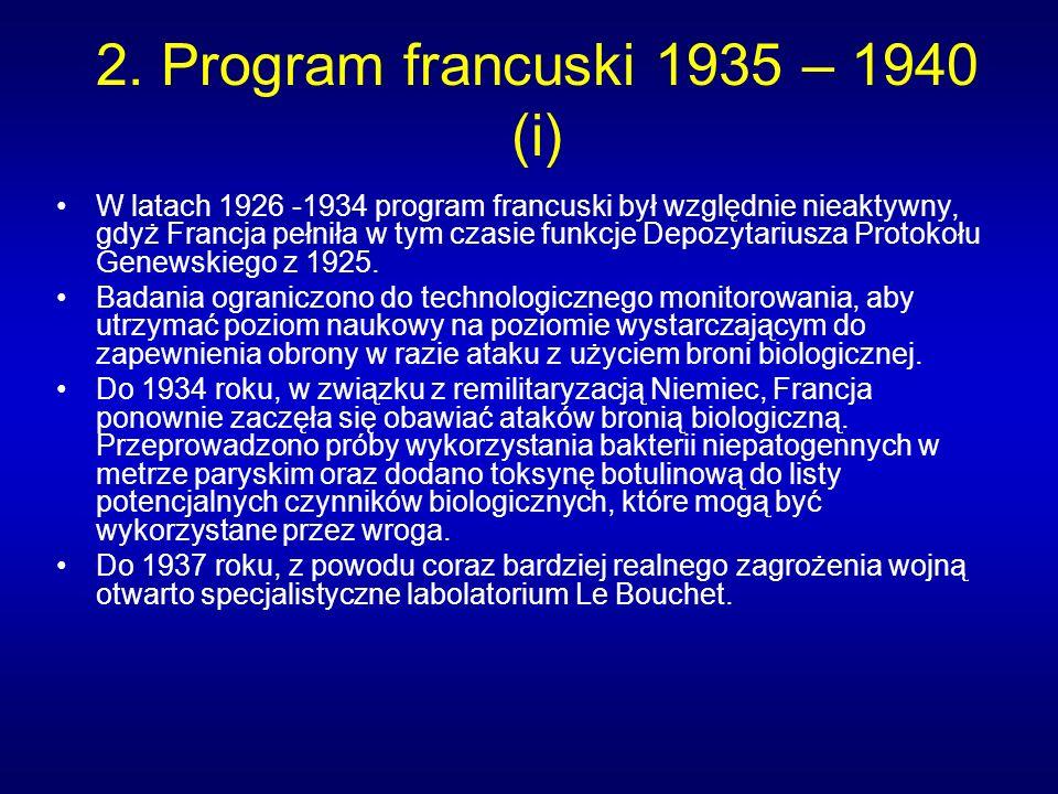 2. Program francuski 1935 – 1940 (i) W latach 1926 -1934 program francuski był względnie nieaktywny, gdyż Francja pełniła w tym czasie funkcje Depozyt