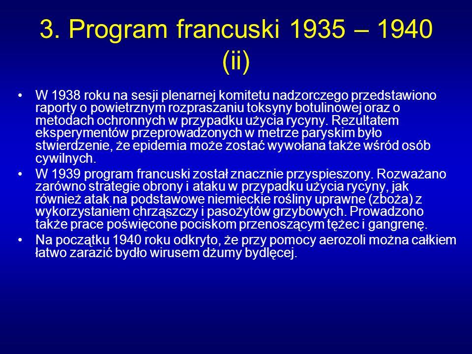 3. Program francuski 1935 – 1940 (ii) W 1938 roku na sesji plenarnej komitetu nadzorczego przedstawiono raporty o powietrznym rozpraszaniu toksyny bot