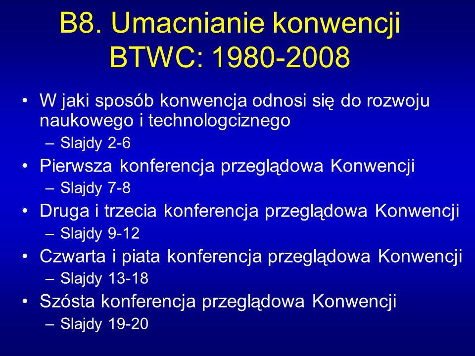 B8. Umacnianie konwencji BTWC: 1980-2008 W jaki sposób konwencja odnosi się do rozwoju naukowego i technologciznego –Slajdy 2-6 Pierwsza konferencja p