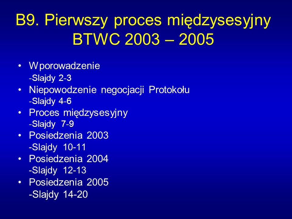 B9. Pierwszy proces międzysesyjny BTWC 2003 – 2005 Wporowadzenie -Slajdy 2-3 Niepowodzenie negocjacji Protokołu -Slajdy 4-6 Proces międzysesyjny -Slaj