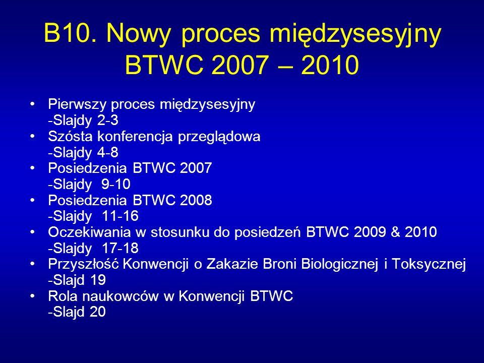 B10. Nowy proces międzysesyjny BTWC 2007 – 2010 Pierwszy proces międzysesyjny -Slajdy 2-3 Szósta konferencja przeglądowa -Slajdy 4-8 Posiedzenia BTWC