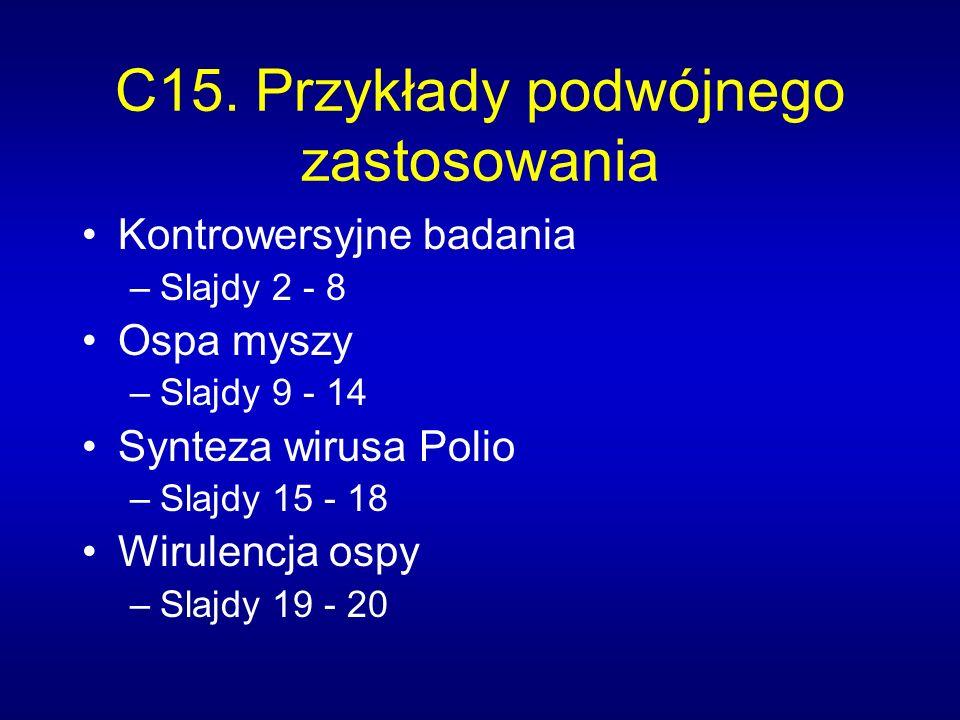 C15. Przykłady podwójnego zastosowania Kontrowersyjne badania –Slajdy 2 - 8 Ospa myszy –Slajdy 9 - 14 Synteza wirusa Polio –Slajdy 15 - 18 Wirulencja