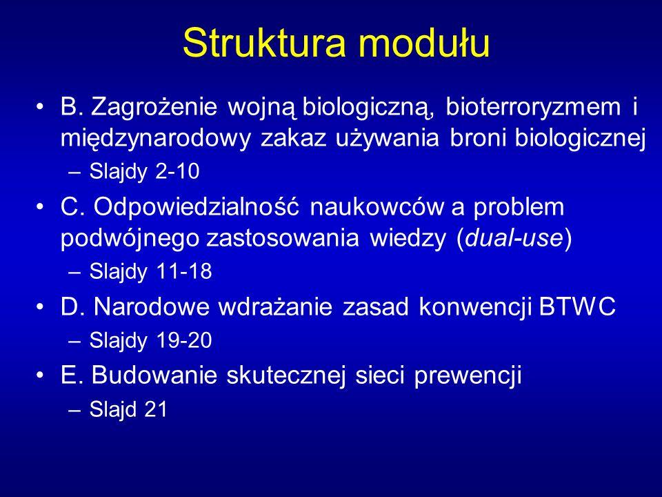 Struktura modułu B. Zagrożenie wojną biologiczną, bioterroryzmem i międzynarodowy zakaz używania broni biologicznej –Slajdy 2-10 C. Odpowiedzialność n