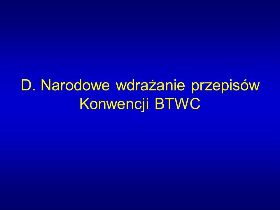 D. Narodowe wdrażanie przepisów Konwencji BTWC