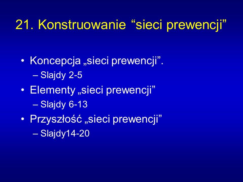 21. Konstruowanie sieci prewencji Koncepcja sieci prewencji. –Slajdy 2-5 Elementy sieci prewencji –Slajdy 6-13 Przyszłość sieci prewencji –Slajdy14-20