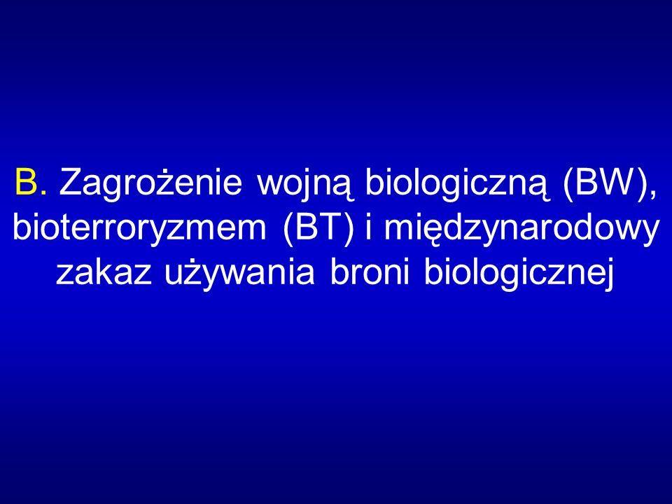 B. Zagrożenie wojną biologiczną (BW), bioterroryzmem (BT) i międzynarodowy zakaz używania broni biologicznej