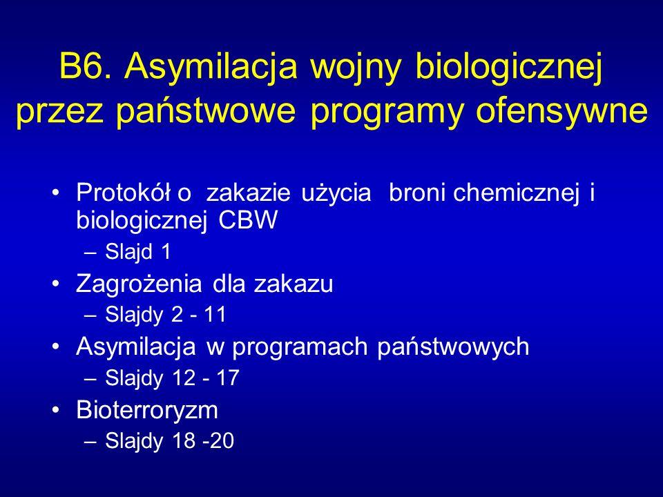 B6. Asymilacja wojny biologicznej przez państwowe programy ofensywne Protokół o zakazie użycia broni chemicznej i biologicznej CBW –Slajd 1 Zagrożenia