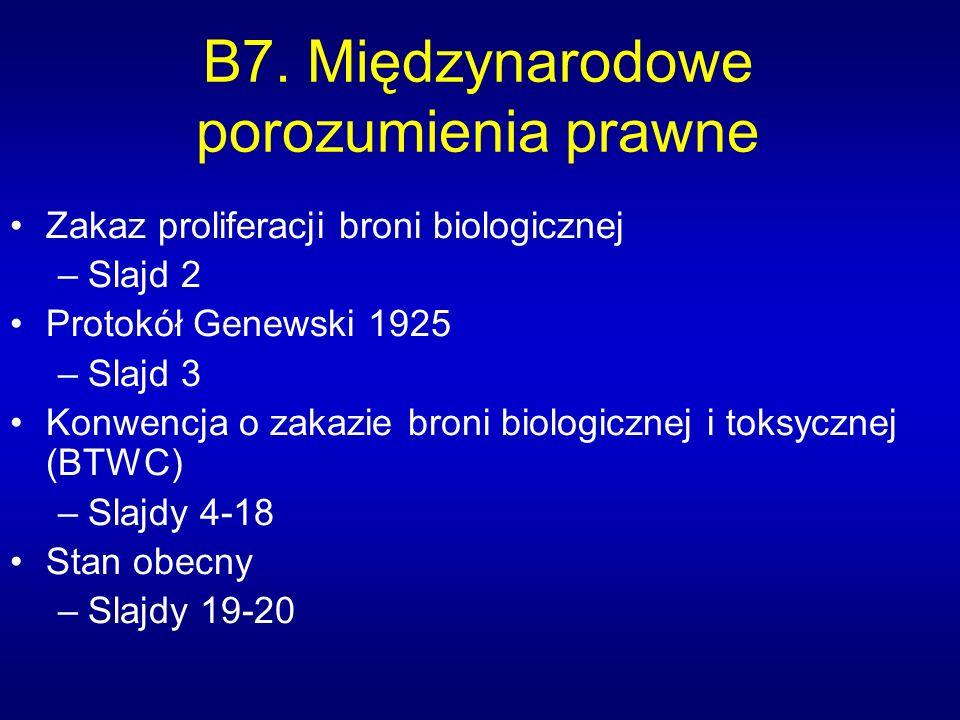 B7. Międzynarodowe porozumienia prawne Zakaz proliferacji broni biologicznej –Slajd 2 Protokół Genewski 1925 –Slajd 3 Konwencja o zakazie broni biolog