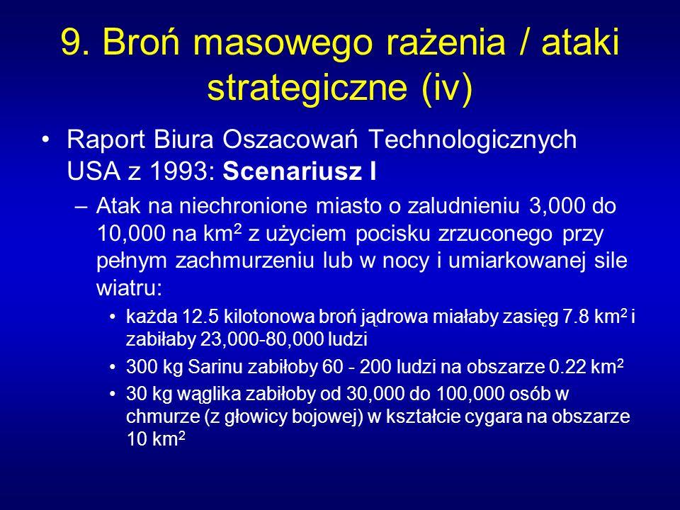 9. Broń masowego rażenia / ataki strategiczne (iv) Raport Biura Oszacowań Technologicznych USA z 1993: Scenariusz I –Atak na niechronione miasto o zal
