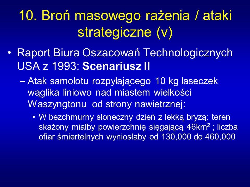 10. Broń masowego rażenia / ataki strategiczne (v) Raport Biura Oszacowań Technologicznych USA z 1993: Scenariusz II –Atak samolotu rozpylającego 10 k