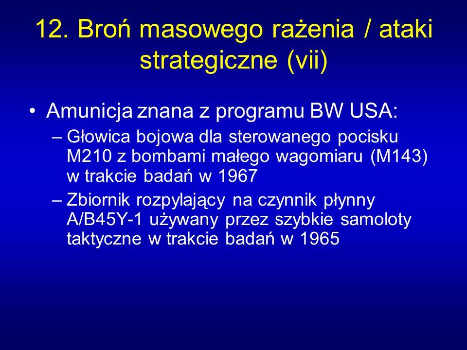 12. Broń masowego rażenia / ataki strategiczne (vii) Amunicja znana z programu BW USA: –Głowica bojowa dla sterowanego pocisku M210 z bombami małego w