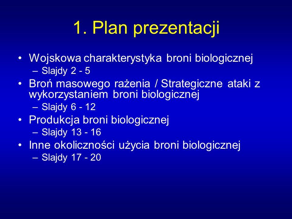 1. Plan prezentacji Wojskowa charakterystyka broni biologicznej –Slajdy 2 - 5 Broń masowego rażenia / Strategiczne ataki z wykorzystaniem broni biolog