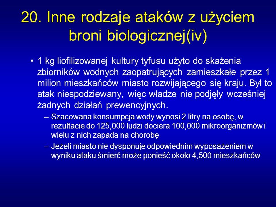 20. Inne rodzaje ataków z użyciem broni biologicznej(iv) 1 kg liofilizowanej kultury tyfusu użyto do skażenia zbiorników wodnych zaopatrujących zamies