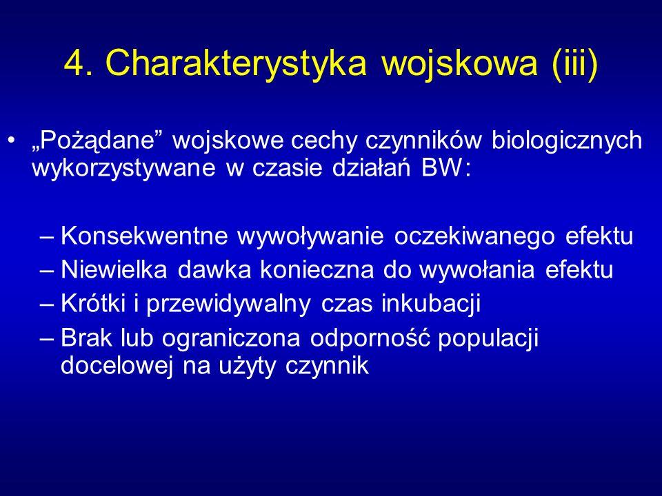4. Charakterystyka wojskowa (iii) Pożądane wojskowe cechy czynników biologicznych wykorzystywane w czasie działań BW: –Konsekwentne wywoływanie oczeki