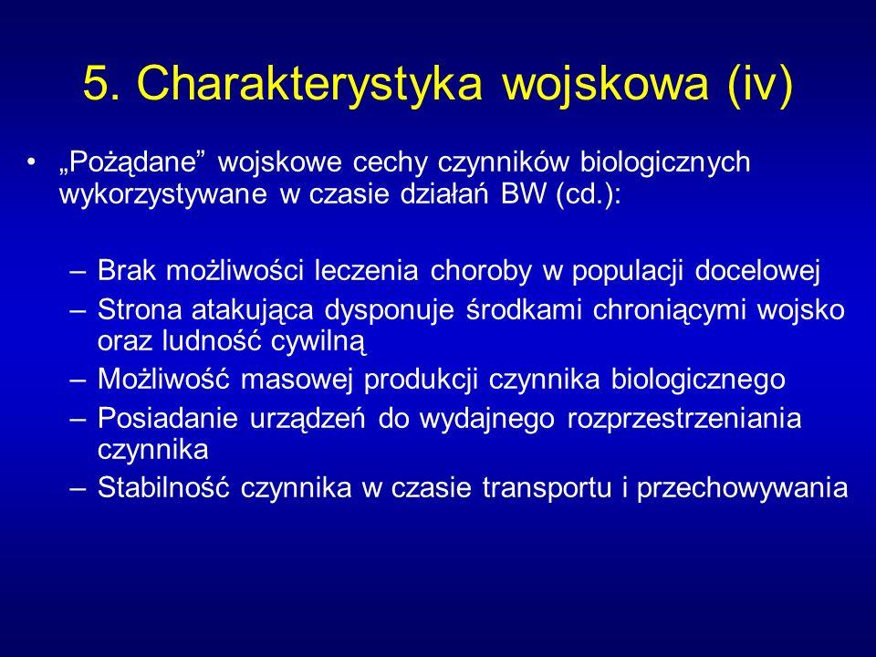 5. Charakterystyka wojskowa (iv) Pożądane wojskowe cechy czynników biologicznych wykorzystywane w czasie działań BW (cd.): –Brak możliwości leczenia c